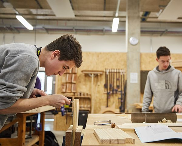 Carpentry students in workshop