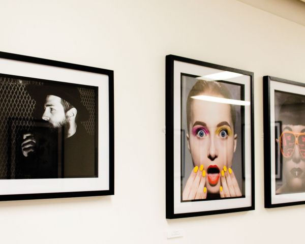 Photography images in frames on the wall